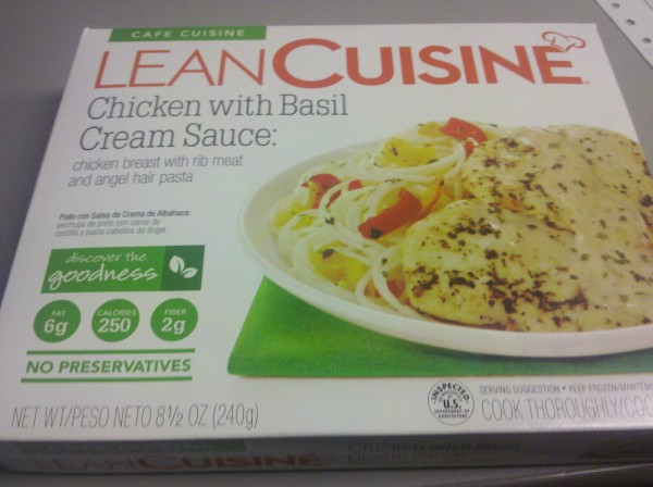 Lean cuisine chicken with basil cream sauce tasty lies for Are lean cuisine pizzas healthy